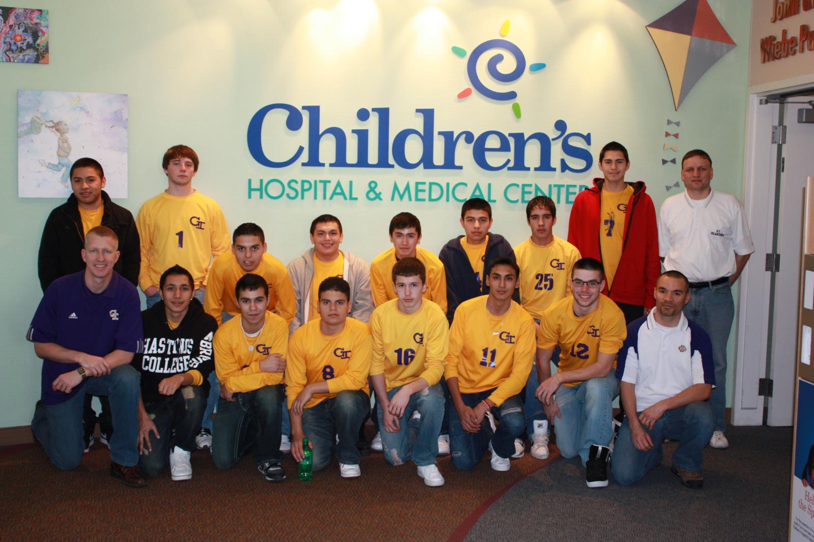 Soccer team at Children's Hospital